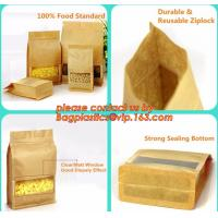 China stand up pouch biodegradable zipper bag kraft paper bag, Resealable Snack Stand up Zipper kraft paper Pouch Aluminum wholesale