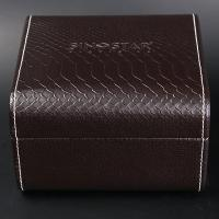 China Single Twist Brown Leather Watch Box Elegant Style Recyclable With Stitching wholesale