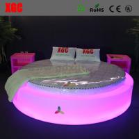 China Modern bedroom furniture design round bed with led light wholesale