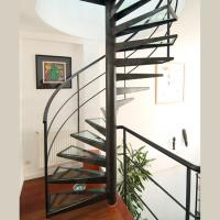 China Customized Spiral Stairs Railing Balustrade Spiral Staircase with Glass Steps wholesale