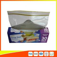 China Supermarket Reuseable Plastic Clear Sandwich Bags Zipper Top 22 * 25cm wholesale