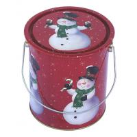 Quality Christmas Holiday Tin With Metal Handle , Dia110xH130mm Tin Container for sale