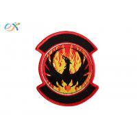 China Twill Background Embroidered Fabric Patches , Motorcycle Leather Vest Patches wholesale