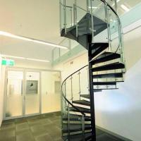 China Customized Tempered Glass Tread Spiral Staircase with Glass Railing wholesale