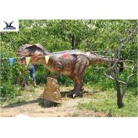 China Eyes Blink Dinosaur Lawn Ornament , Life Size Animal Statues For Amusement Park wholesale