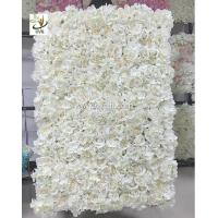 China UVG 5ft white artificial flower wall with silk hydrangea and rose for wedding decoration CHR1101 wholesale