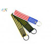 China Polyester Custom Embroidered Keychain Rectangle Shape With Merrow Border wholesale