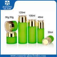 Quality Refillable Green Cosmetic Glass Packaging , Glass Makeup Jars Lotion Pump Bottle Sets for sale