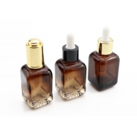 China 30ml Amber Square Glass Cosmetic Bottles For Essential Oil Serum wholesale