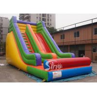 China Outdoor 19'' High Rainbow Kids Inflatable Slide With Front Load Stopper For Parties wholesale