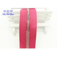 Quality High Polished Gold Long Chain Zipper Pink Polyester Tape For Garments / Bags for sale