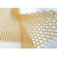 China 1.5MM Dia 15mm OD Gold Colored Steel Ring Mesh Dexhibition Halls Divider wholesale
