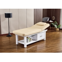 China Beech Salon Couch Bed , Ergonomic Wood Leather Massage Bed wholesale