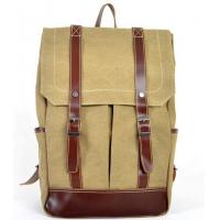 Quality canvas knapsack patchwork with first layer leather for men welcome in Brazil market for sale