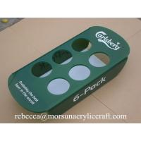 China Green plexiglass bottle holder 6 pack acrylic beer tray for counter display wholesale