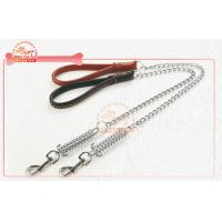China Long Alloy Anti Bite Chain Leather Dog Collar And Leashes With Strong Spring Hook wholesale