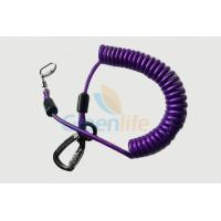 China Purple Nylon Retractable Tool Lanyard Plastic Covered With Aviation Aluminum Hook wholesale