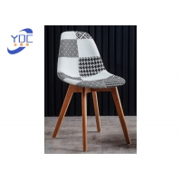 China Patchwork Fabric Back And Seat Restaurant Dining Chairs Wooden Legs wholesale