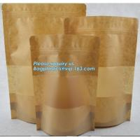China Square Bottom Gusseted Resealable Kraft Paper Stand Up Pouch Rice Packaging Bag With Zipper And Window BAGEASE PACKAGE wholesale