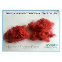 China Comfortable Red Polyester Dyed Fiber For Non Woven Fabrics / Carpets wholesale