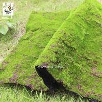 China UVG landscape decor accessories flocking artificial moss carpet garden synthetic grass mat for indoors use GRS041 wholesale