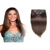 China Brown #8 Clip In human Hair Extensions Peruvian Human Hair For Beauty Works wholesale