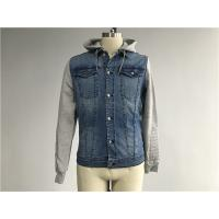 China Light Wash Mens Denim Jacket And Jean With Brushed Fleece Sleeves / Detachable Hood wholesale