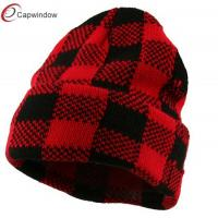 Quality Red Black Buffalo Plaid Cuff Beanie Winter Hats with Cozy Soft and Light Fabric for sale