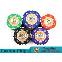 Sticker Pure Casino Poker Chip Set With UV Logo , Ceramic Poker Chip Sets  for sale
