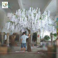 China UVG WIS003 china home decor wholesale 4 meters tall white artificial wisteria flowers wedding blossom tree wholesale