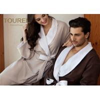 China White And Brown Color Womens Terry Towelling Bathrobe Cotton Coral For Spa Beauty Salon on sale