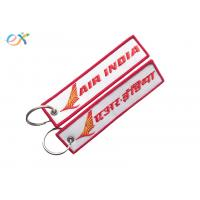 China Letter Embroidered KeychainTag Rectangle Shape Twill Background Fabric wholesale