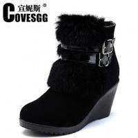 China Hotest 2014 New furry winter fashion lady wedge warm shoes,free top design original shoes wholesale