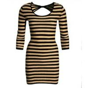 China Big Back Holes Womens Casual Summer Dresses 3 4 Sleeves Multi Stripe Maxi Dress wholesale
