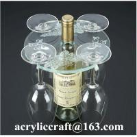 China Personalized Engraved Transparent Round Acrylic Four Wine Glass Holder wholesale