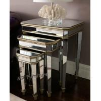 3 Set Mirrored Side Tables For Bedroom , Silver Modern Mirrored Furniture