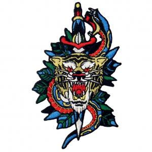 China Farbric Tiger Patch Embroidered Animal Patch Iron On For Jeans Vests wholesale