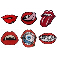 China 3D Iron On Sexy Lip Custom Embroider Patch For Jacket wholesale