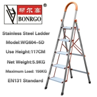 China En131 5 Step 3.8ft Stainless Steel Folding Ladder wholesale
