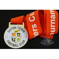China Custom Metal Zinc Alloy Football Medals Soft Enamel with Europe Printing Ribbon wholesale