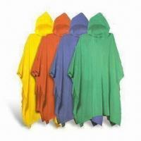 China Plastic Rain Ponchos, Available in Various Thicknesses, Made of PVC, Measures 50 x 80 Inches wholesale