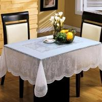 China White PVC Table Cloth Easy Clean , Elegant Table Cover For Dining Room wholesale