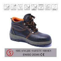 Quality Black leather steel toe cap safety work boots safety shoes 9005 for sale