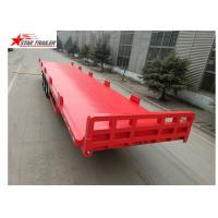 China 13 Meters 3 Axles Commercial Flatbed Trailer With Dual Line Brake System wholesale
