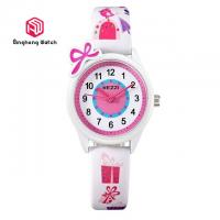 China Cute Unisex Kids Leather Childrens Waterproof Watches Pink / Blue Color on sale