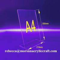 China L shape 3mm transparent acrylic A4 stand for brochure holders wholesale