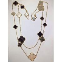 China 16 Motifs 18k Van Cleef And Arpels Magic Alhambra Long Necklace White Gray Mother Of Pearl Onyx wholesale