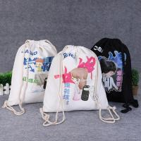 China Drawstring Shoe Pouch Reusable Cotton Shopping Bags Offset Printing on sale