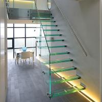 China Straight Mild Steel Glass Modern Floating Staircase / Prefab Steel Glass Stair Indoor wholesale