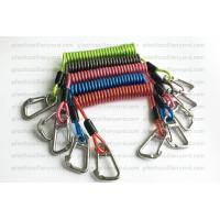China Heavy Weight Plastic Coil Lanyard , Coiled Tool Lanyard With Double 316 Stainless Steel Clips wholesale